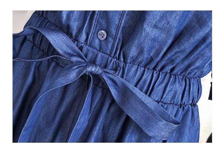 Wide Leg Denim Denim Jumpsuits Romper Off Shoulder Overalls for Women Blue Short Sleeve Female Streetwear 42