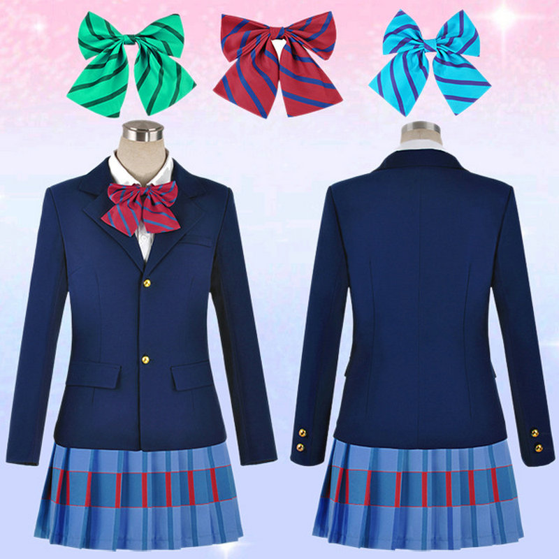 Blazer+Skirt +1 Piece Neck tie Costume Cosplay Anime Love Live Costumes Halloween Party Lovelive School Uniforms Free Shipping