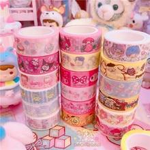 2 unids/lote de dibujos animados My Melody con estrellas de Cinnamoroll Washi cinta DIY de papel japonés Cinta adhesiva decorativa pegatinas