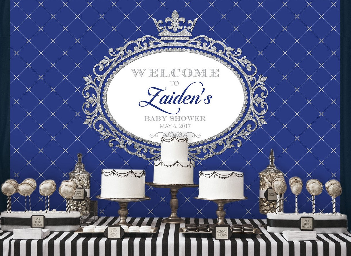 custom Royal Blue And Silver king crown Boy photography studio background  High quality Computer print party backdrops Background     - title=