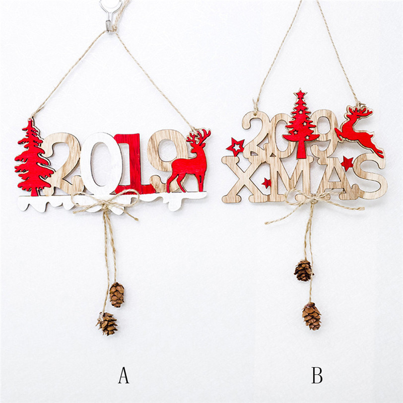 Christmas Tree Ornaments DIY Wooden Letter Hanging Card ...