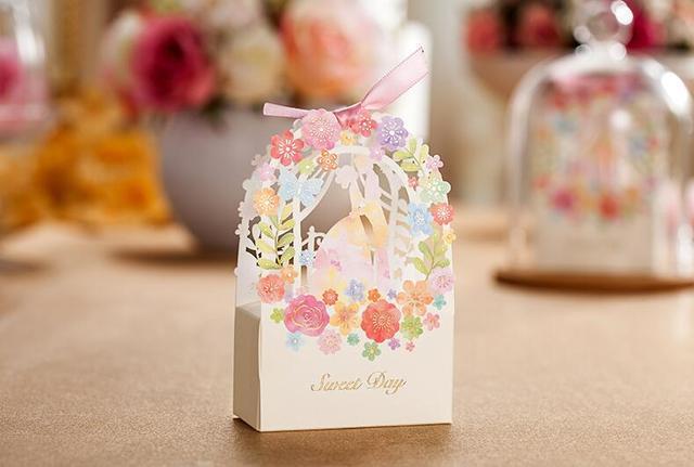 Whole 100x Laser Cut Wedding Candy Box Elegant Luxury Decoration Flower Bride Party Sweet