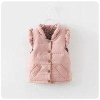 Kids Autumn Winter Vest Girls Thicken Cotton Ruffle Collar Coat Children Clothes Girls Casual Vest