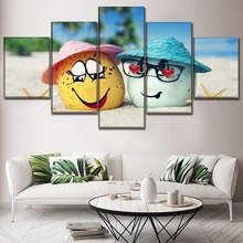 HD Prints Canvas Pictures Living Room Wall Art 5 Piece Beach Artistic Egg Summer Paintings Home Decor Modular Posters Framework