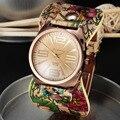 2016 Новый Дизайн Дамы Цветочный Ткань Наручные Золотые Часы Мода Женщины Платье Часы Высокого Качества Womage Смотреть Сладкие Девочки Смотреть