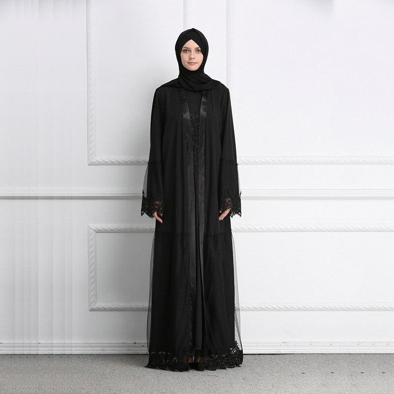Muslim Lace Abaya Grenadine Black Full Dresses Cardigan Kimono Long Robe Gowns Jubah Middle East Ramadan Arab Islamic Clothing