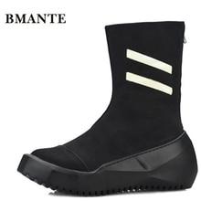 Мужские ботинки в байкерском стиле черного цвета на молнии; ботинки в уличном стиле; Туфли Харадзюку на толстой платформе, увеличивающие рост