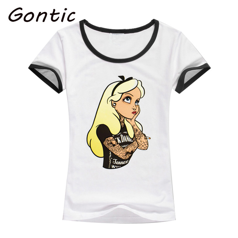princess punk T shirt women summer printed hip hop Tattoo Alice short sleeve cotton lovely white Slim Tops hipster cool ladies in T Shirts from Women 39 s Clothing