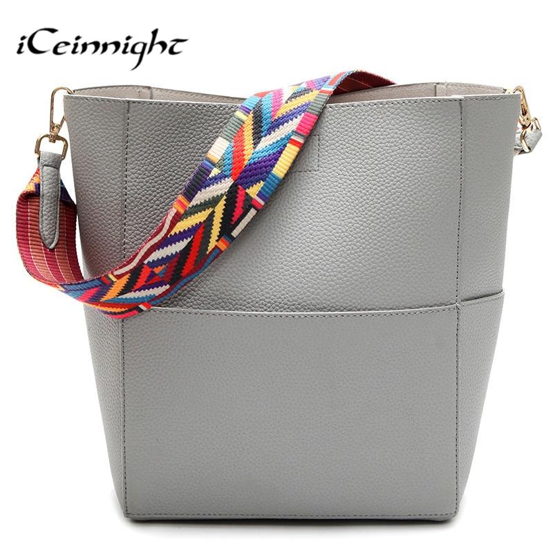 iCeinnight Big Bucket Women Shoulder Bags High Quality Pu Leather handbag Casual