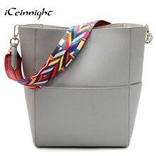 Iceinnight großen eimer frauen umhängetaschen hochwertigen pu-leder handtasche lässige luxus einkaufstasche schöne eleganten tasche