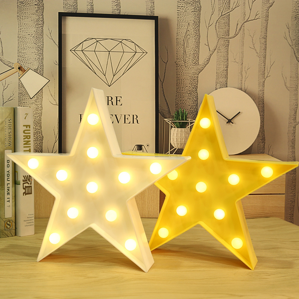 3D Star Shaped Starry Sky Night Light Marquee Letter Standing ...
