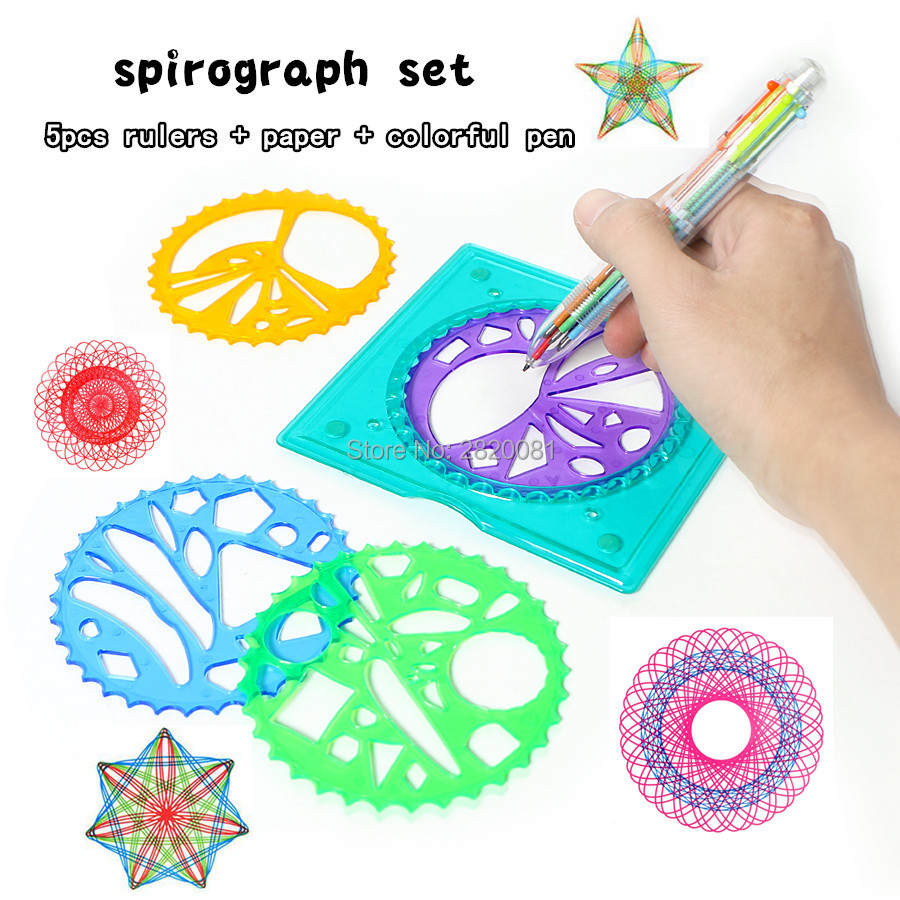 5pcs Designs Interlocking Gears&Wheels With Colorful Pen Set Spirograph Deluxe Set Drawing Rulers Spiral Drawing Toy For Kid
