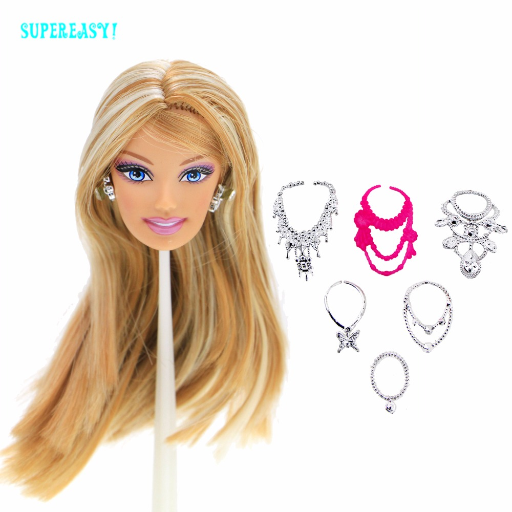 8 Pcs = 1x High Quality Doll Head Mixed Color Straight Hair + Random 1x Earrings + 6x Chain Necklaces For 12 Doll Accessories high quality doll head brown curly hair long eyelashes with fashion earrings diy gift accessories for 1 6 12 doll kids toy gift