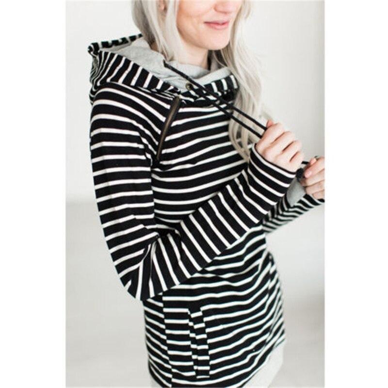 4 Colors Women's  Fashion Hooded Stripes Casual Zipper Hoodies Pocket Women Sweatshirt Plus Size 3XL