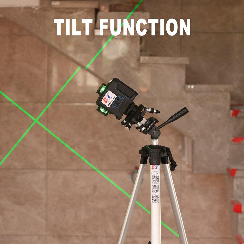 Kaitian лазерный нивелир Штатив Зеленый 12 линий самонивелирующийся вертикальный горизонтальный мощный 360 Кронштейн 532nm 3D Nivel лазеры приемник