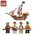 368 unids enlighten piratas buque marauder brinquedos pirata del bloque hueco de los niños juguetes de los ladrillos educativos bloques de juguete para niños 4184