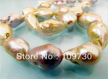 Jewelry 0012051 HUGE 15-23MM AUSTRALIAN SOUTH SEA GOLD LAVENDER MULCT NUCLEAR PEARL NECKLACE 14KGP