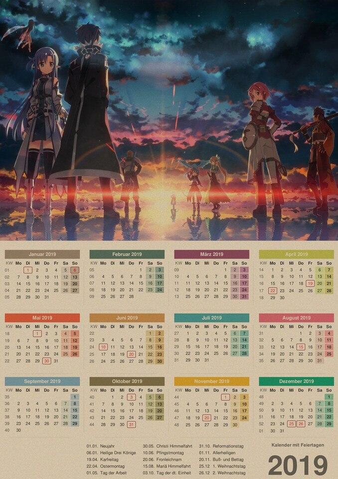 Sword Art Online 2019 Calendar Kraft Poster Wall Sticker