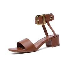 2019 summer womens sandals fashion design 5CM high heels full really leather material comfortable lining