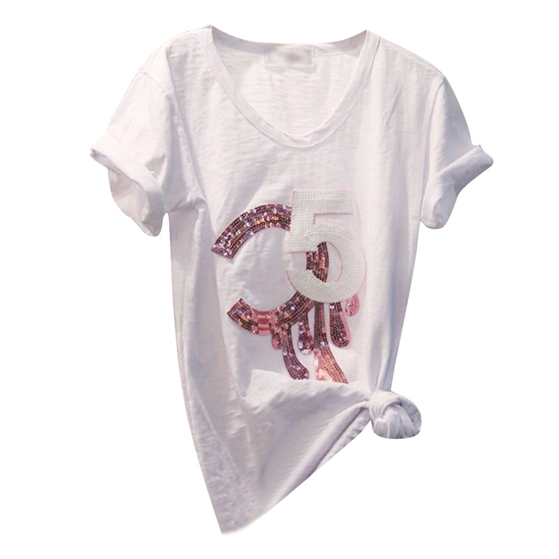 Free Shipping Fashion C5 Embroidery Sequins Women Cotton White T Shirts Casual Short Sleeve T Shirts Woman Top Tee Plus Size 4XL