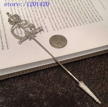 Crown Broothes crystal scepter  rhinestone scepter broche coroa com perola Europe  pearl brooch pin Fashion Luxury  silver color