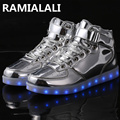 Plus Size 35-46 Led Light Shoes Men 7colors Glowing Fashion Led Shoes Lover Flats High Top Adults Lumineuse Shoes Tenis Feminino