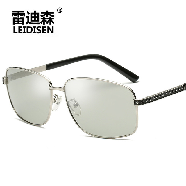 1787703ad454 Genuine Leidisen 2018 sunglasses sun glasses for men polarized photochromic  lunettes de soleil TAC UV400 Black Frame Gray Lens