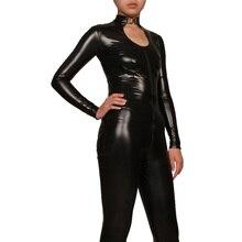 Recubierto de Cuero Negro full body buzos sexy adultos medias de Manga Larga Zip catsuit cosplay disfraces de halloween mujeres