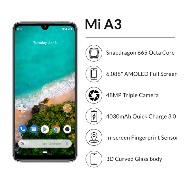 "Global Version Xiaomi Mi A3 4GB 64GB Smartphone 6.088"" AMOLED Snapdragon 665 Octa Core In screen Fingerprint 4030mAh Cellphone 1"