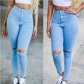 Novo 2017 Hight Cintura Elástica Buraco Rasgado Designer Plus Size Mulheres Jeans Mulher Skinny Jeans Denim Calças Lápis Calças Casuais