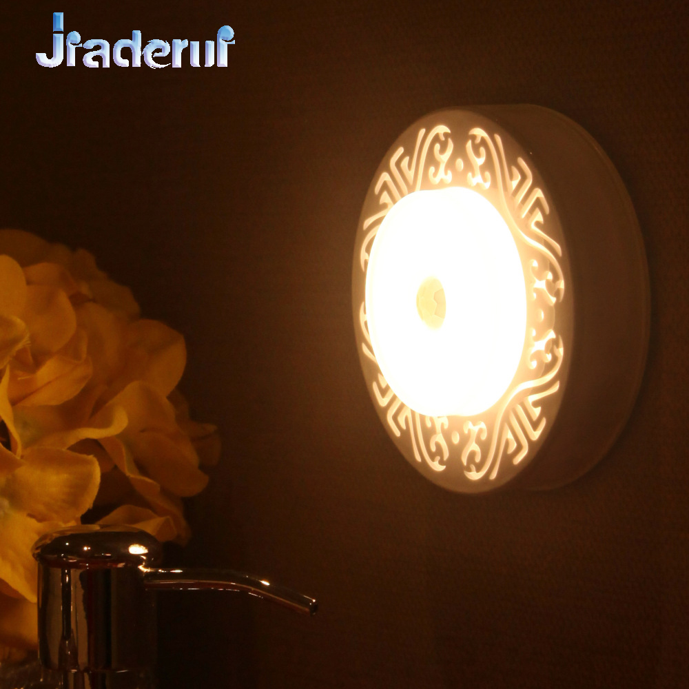 Jiaderui Cabinet Motion Sensor Night Lights 6LED Hallway Stairs Bedroom Kitchen Lamp for Children Elderly Night Lighting Battery