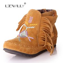 Lsewilly boots Fashion Womens Ankle boots Flat Casual Women shoes plus size 34-43 fashion Sweet Solid Flock short boots AA559