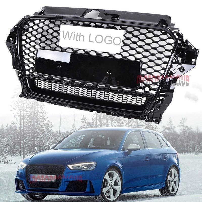 1 pcs De Course De Voiture Grille Pour Audi A3 S3 Grill 2013-2016 Emblèmes Logo Radiateur Chrome Garniture Pare-chocs Avant modifier Partie Maille Nid D'abeille