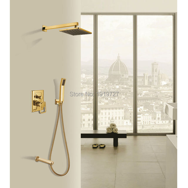 New Luxury Bathroom Brass 8 Inch Waterfall Rain Shower Head Arm  Gold Wall Mounted Shower Faucet Set