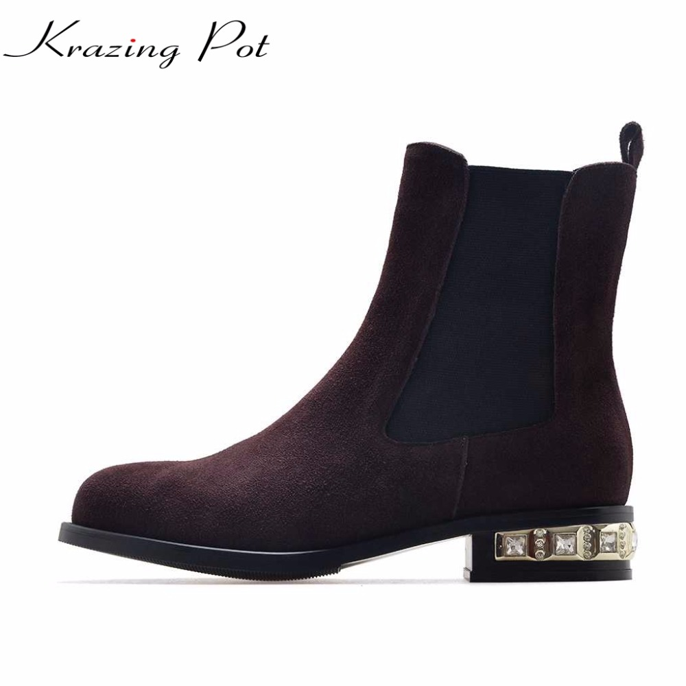 Krazing Pot cow suede big size 42 41 winter Chelsea boots thick low heels crystal heels round toe slip on women ankle boots L9f1 krazing pot big szie cow suede slip on thick heel tassel bowtie winter pointed toe fashion superstar runway ankle boots l5f1