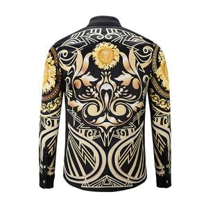 Image 2 - XIMIWUA 2019 جديد وصول 3d قمصان الرجال عارضة ضئيلة تناسب نمط بدوره إلى أسفل طوق طويل الأكمام الرجال قمصان camisa الغمد