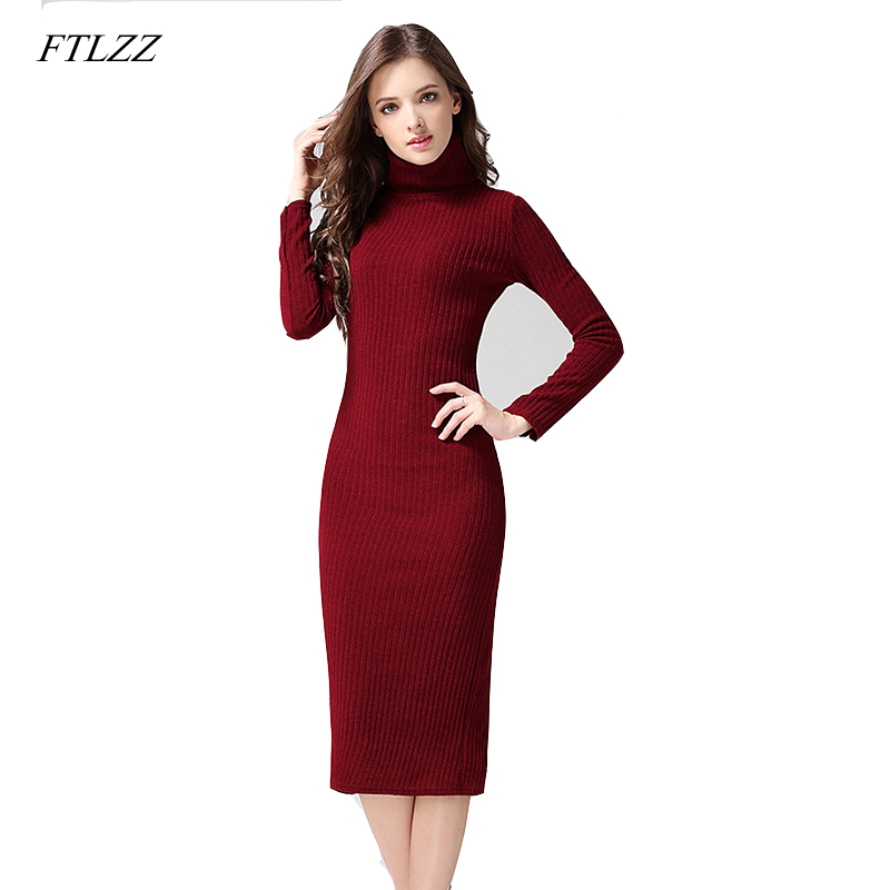 Ftlzz Casual Turtleneck Long Knitted Sweater Dress Women Cotton Slim Bodycon Dress Pullover Female Autumn Winter Dress 2017