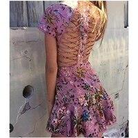 Hanzangl yeni varış kadınlar yaz elbiseler pembe çiçek baskı crossover sapanlar geri pist tasarımcısı mermaid dress