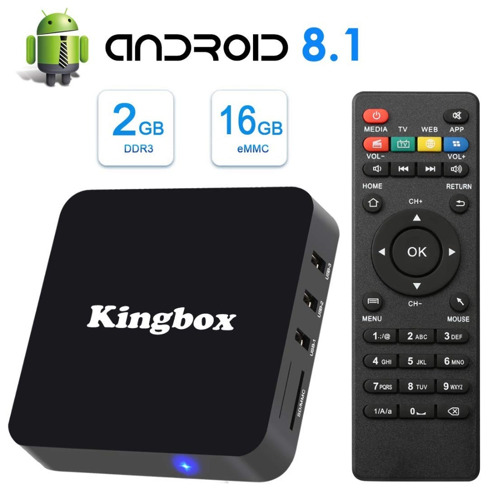 Smart Box Tv 4 k 8.1 Android TV Box K2 Android Box avec 2 GB RAM 16 GB ROM Quad-Core Support WiFi 3D 4 K H.265 Netflix Smart TV Box