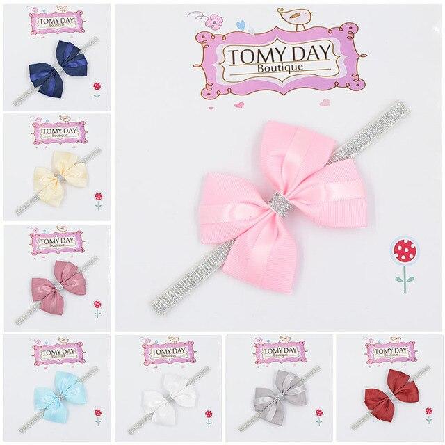 12 color new Baby hair bow flower Headband Silver ribbon Hair Band Handmade DIY hair accessories for children newborn toddler