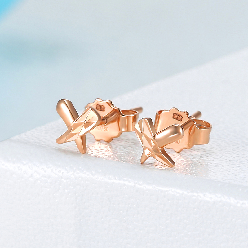 New Arrival Pure AU750 Rose Gold Earrings Women geometry X Stud Earrings New Arrival Pure AU750 Rose Gold Earrings Women geometry X Stud Earrings