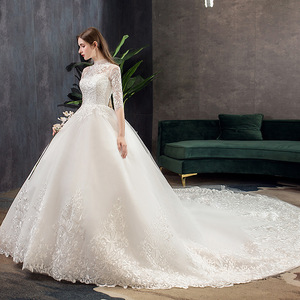 Image 3 - 2019 חדש גבוה צוואר חצי שרוול שמלת כלה סקסי אשליה תחרה Applique פשוט Slim תפור לפי מידה כלה שמלת Robe דה Mariee L