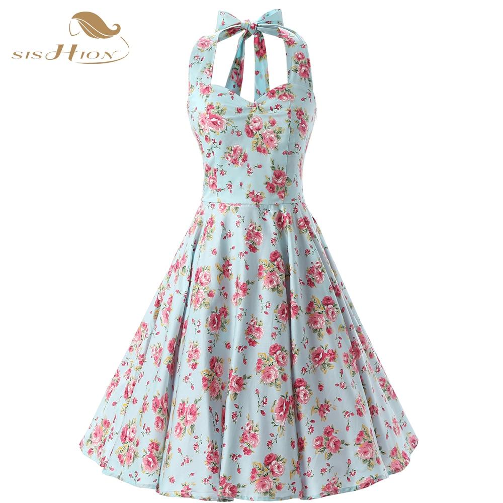 SISHION Elegant Halter Floral Dress 50s 60s Swing Plus Size Women Clothing Vestidos Mint Green Summer Cotton Vintage Dress VD074
