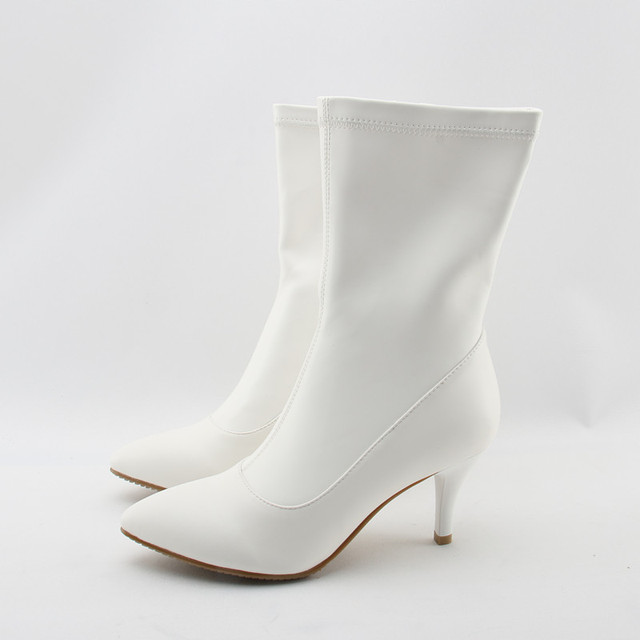Stretch PU Fashion White Boots Sexy Pointed Toe Nude Zipper Mid Calf Boots  Comfortable Spike Heel