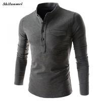 2017 Autumn New Fashion Men Clothing Tshirt Men 5 Solid Colors Slim Fit Long Sleeve T