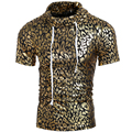 New Men Summer Tshirt Coated Metallic Turtleneck Shinny Leopard Tee Shirts For Men Gold Silver Punk Hip Hop Shirts Tops H7308