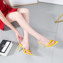 купить 2019 Summer PVC Clear Transparent Strappy High Heels Shoes Women Sandals Peep Toe Sexy Party Female Ladies Shoes по цене 1583.91 рублей