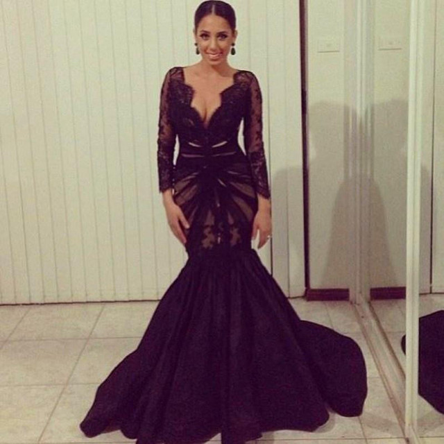 1b3325bcc3 2017 With Court Train Party Dresses Evening Gown Sexy Black Lace Deep V Neck  Applique Long Sleeve Mermaid Prom Dresses