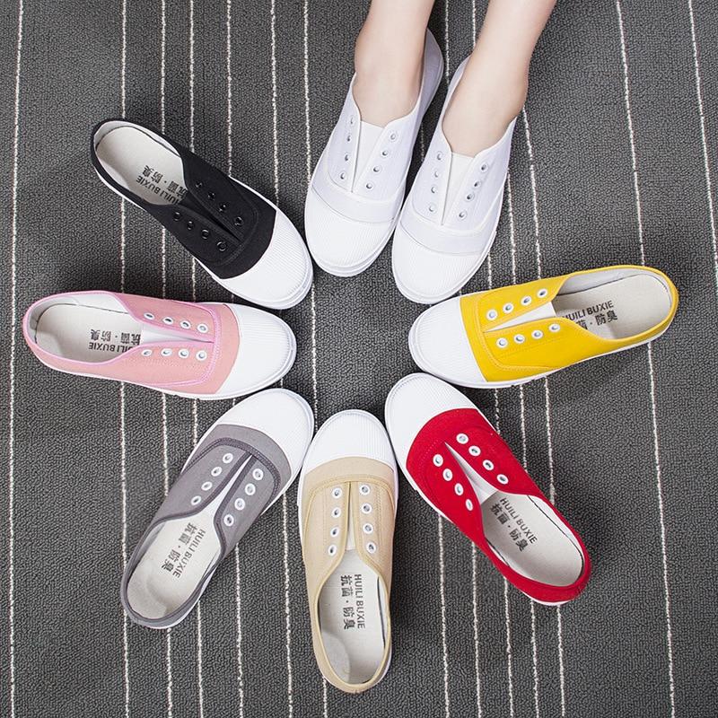 Mujer Zapatos Nuevos Punta Planos De 2018 Salvajes Invierno 7 Básica Colores Casual Moda Redonda Lona Mocasines twqFS