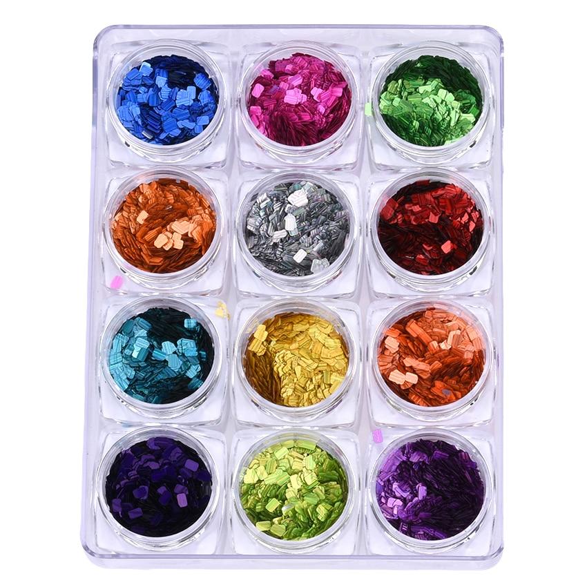 Verantwortlich 11 Farben Festival Glitter Nagel Pailletten Holographische Rechteck Nägel Kunst Flakes Maniküre Zubehör In Gel Mix 12 Gläser/set Yst27 Nagelglitzer Schönheit & Gesundheit